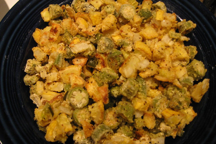 Oven Roasted Okra and Yellow Squash
